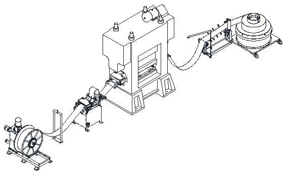 保定金阳光公司的冲网生产线采用多台设备联机运行的方式,各联机设备通过垂度反馈进行匹配控制,多台设备联机运行的方式可使各单机的功能相对单一化,从而使设备的故障率降低而且易于维修和调整,多台设备联机运行的方式可使生产线的配置灵活多变以适应国内蓄电池行业多品种生产的需求。冲网生产线所用多工位级进冲网模具采用模块化设计,各功能模块可单独维修或更换;冲孔凸、凹模采用拼装式结构,维修更换方便,模块化及拼装式的模具设计使得模具的使用寿命和维护成本得到最大限度的改善。 2.